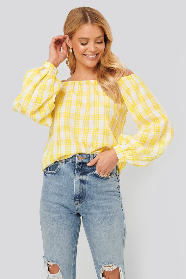 Off Shoulder Structure Check Blouse White/Yellow