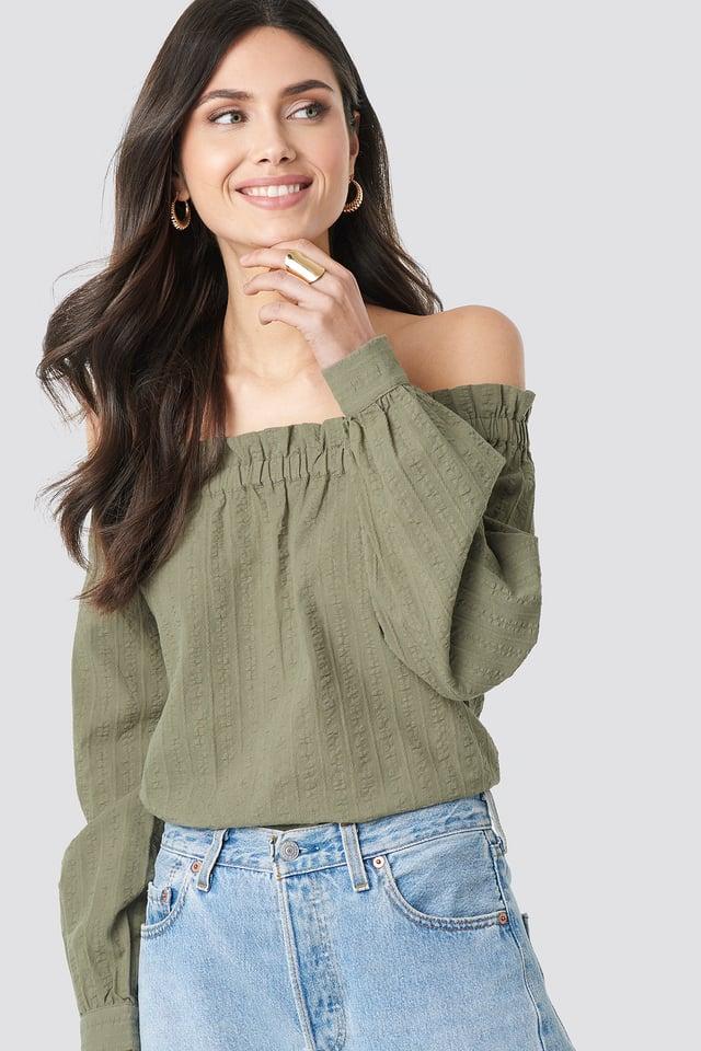 Khaki Green Off Shoulder Structured Blouse