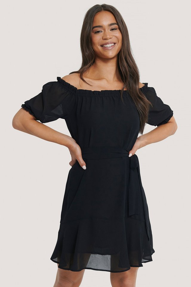Off Shoulder Tie Dress Black