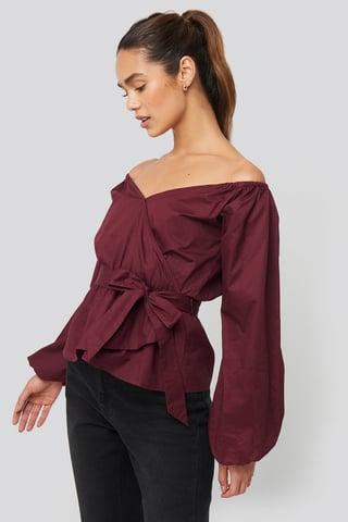 Burgundy Off Shoulder Tie Waist Blouse