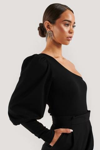 Black One Puff Sleeve Crop Top