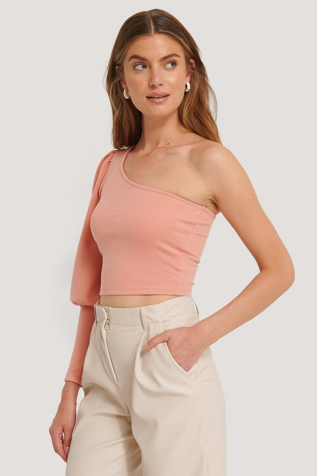 One Puff Sleeve Crop Top Apricot