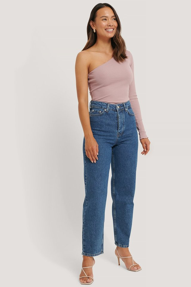 Dusty Pink One Shoulder Babylock Ribbed Top