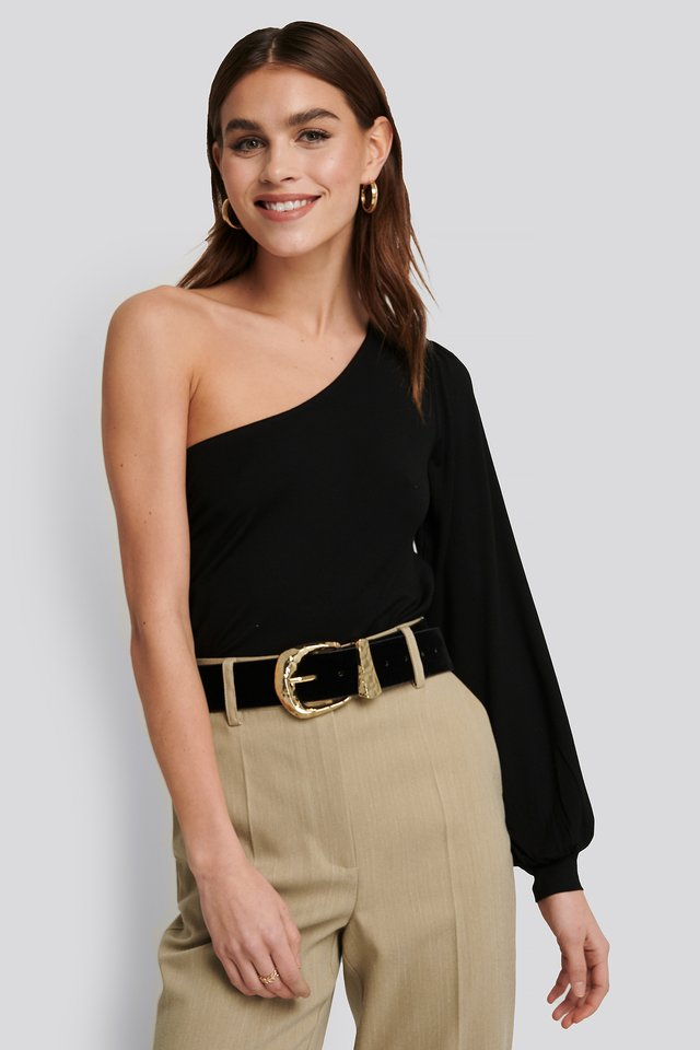 One Shoulder Balloon Sleeve Jersey Top Black