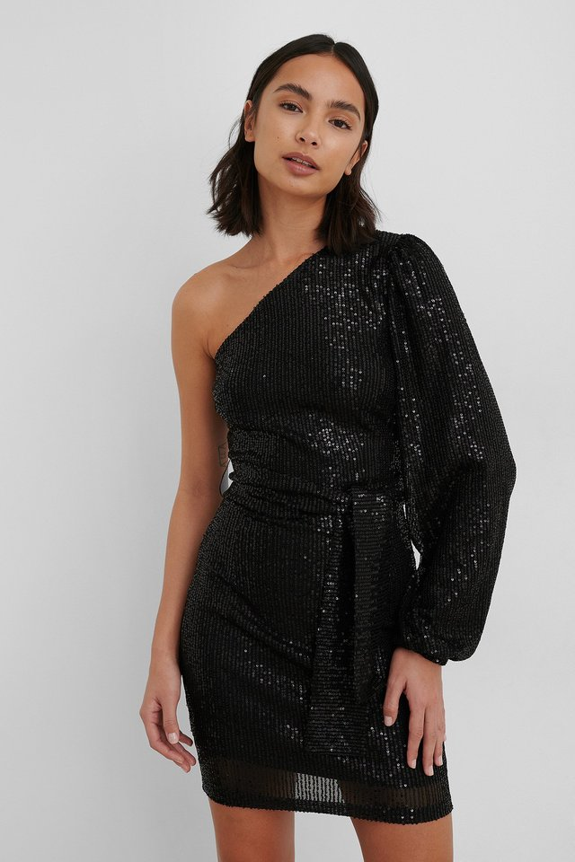 Black One Shoulder Belted Sequin Dress
