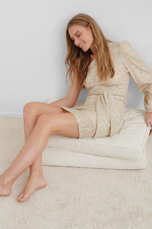 Beige One Shoulder Belted Sequin Dress