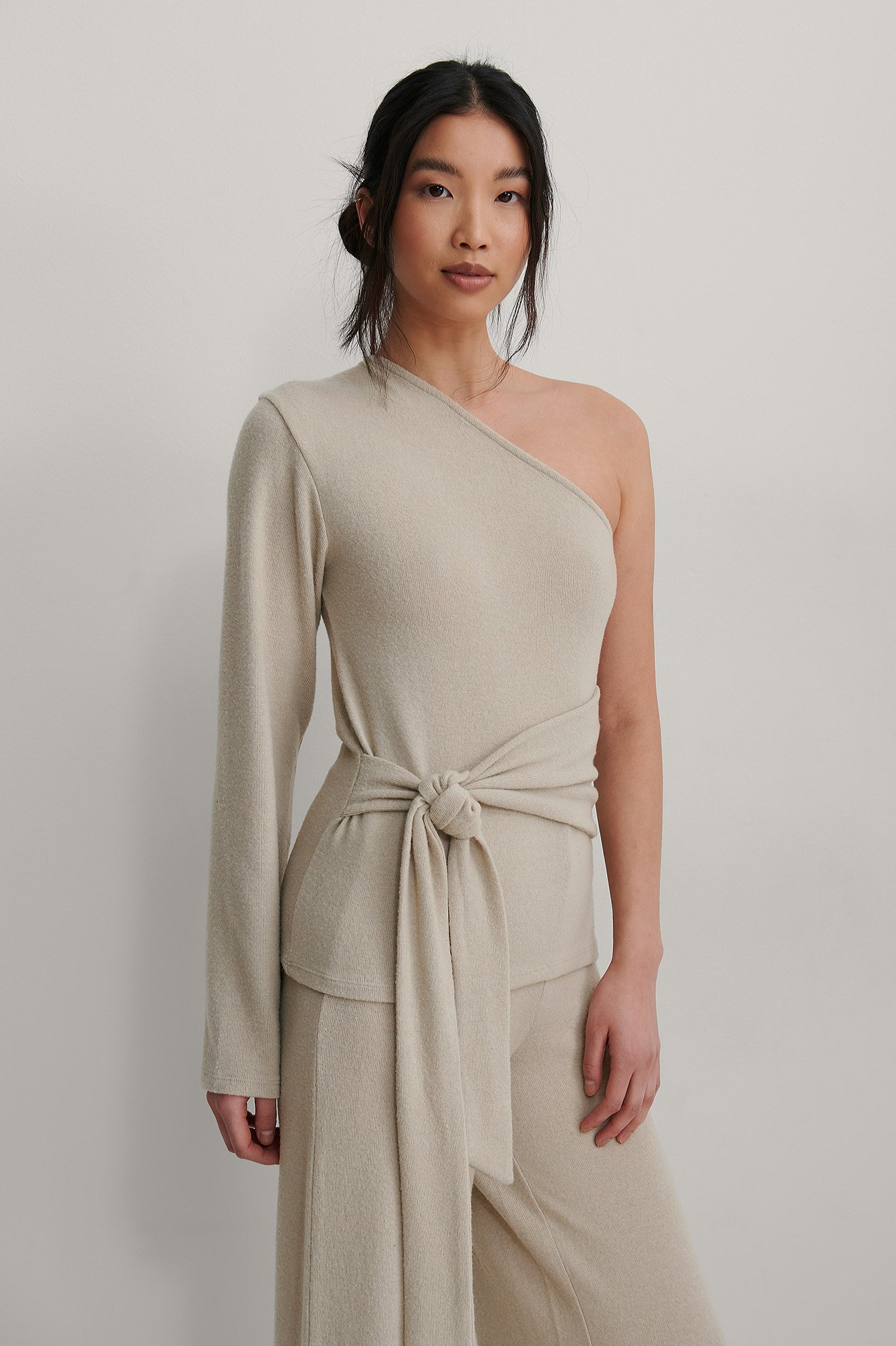Beige Melange Recycled One Shoulder Belted Top