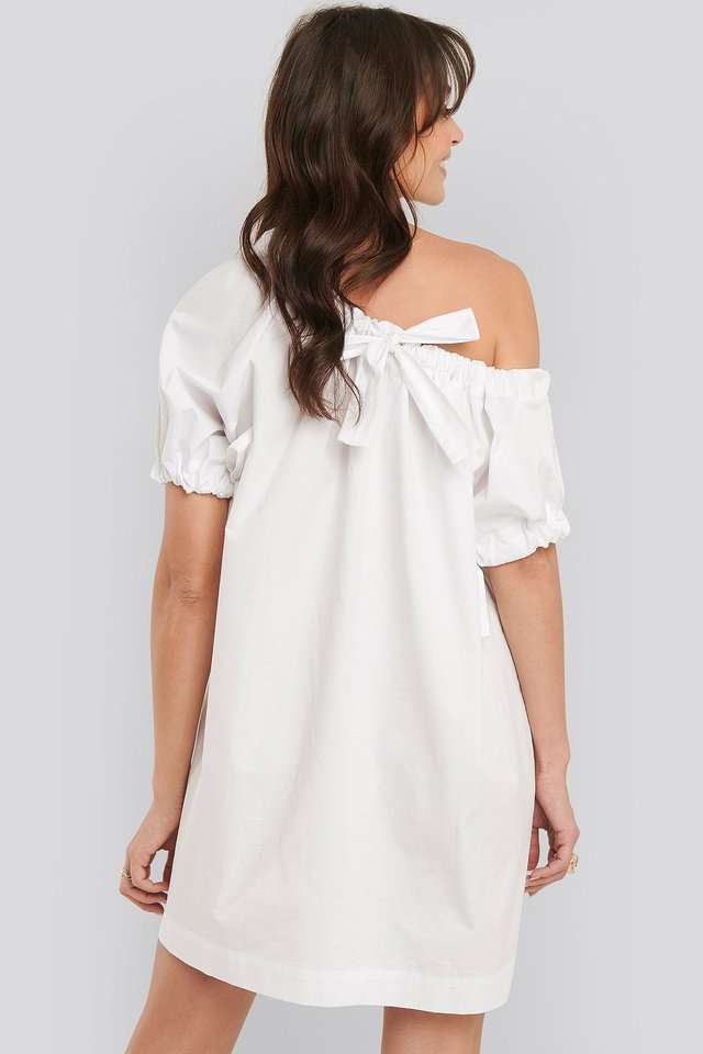 One Shoulder Cotton Dress White