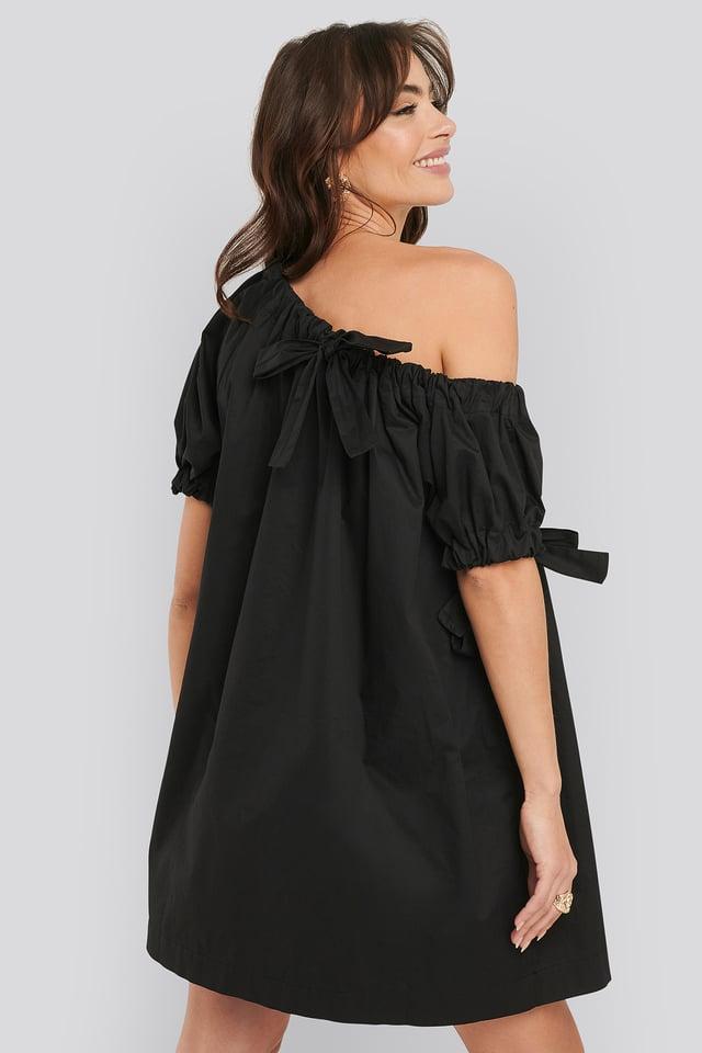 One Shoulder Cotton Dress Black