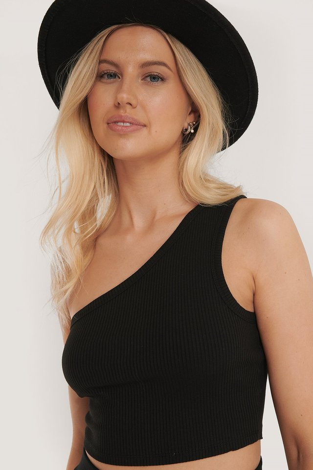 Black One Shoulder Crop Rib Top