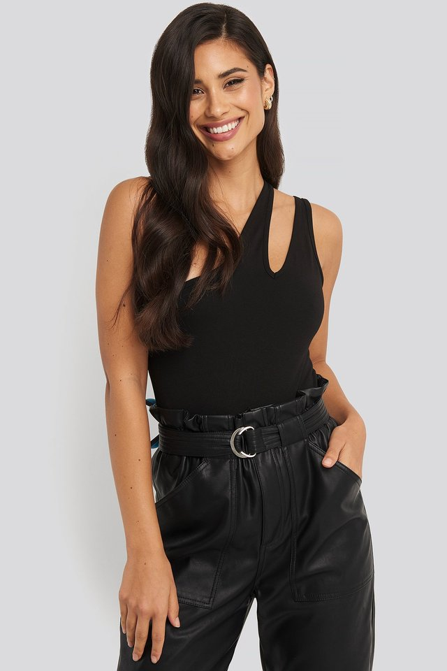 Black One Shoulder Cut Out Body
