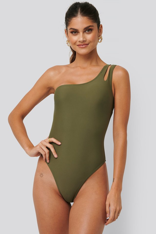 One Shoulder Cut Out Swimsuit Burnt Olive
