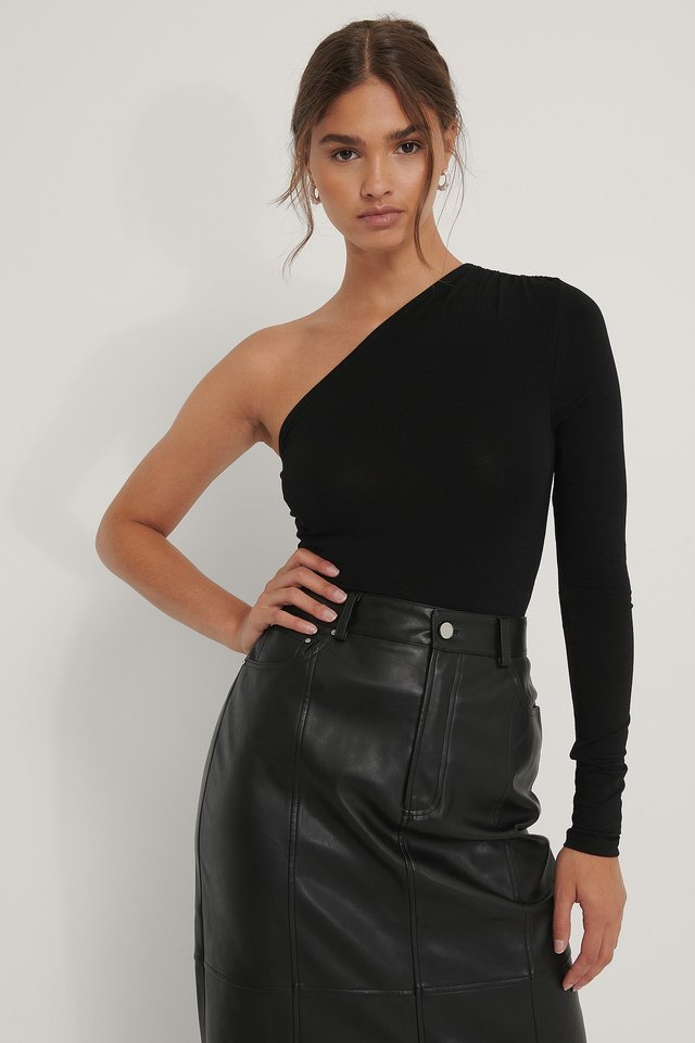 Black One Shoulder Draped Body
