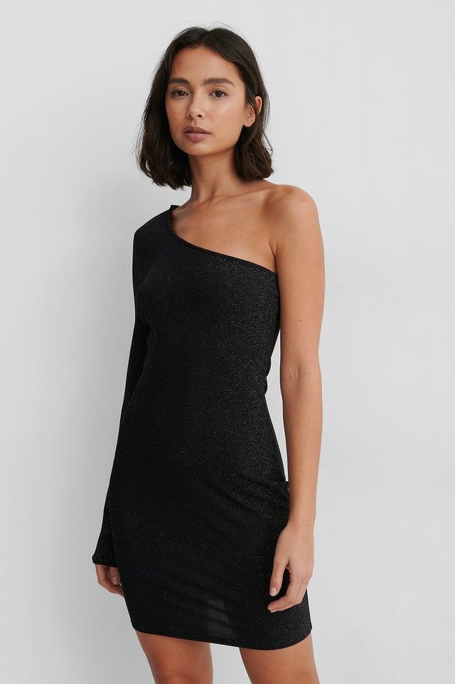 Black One Shoulder Glitter Dress