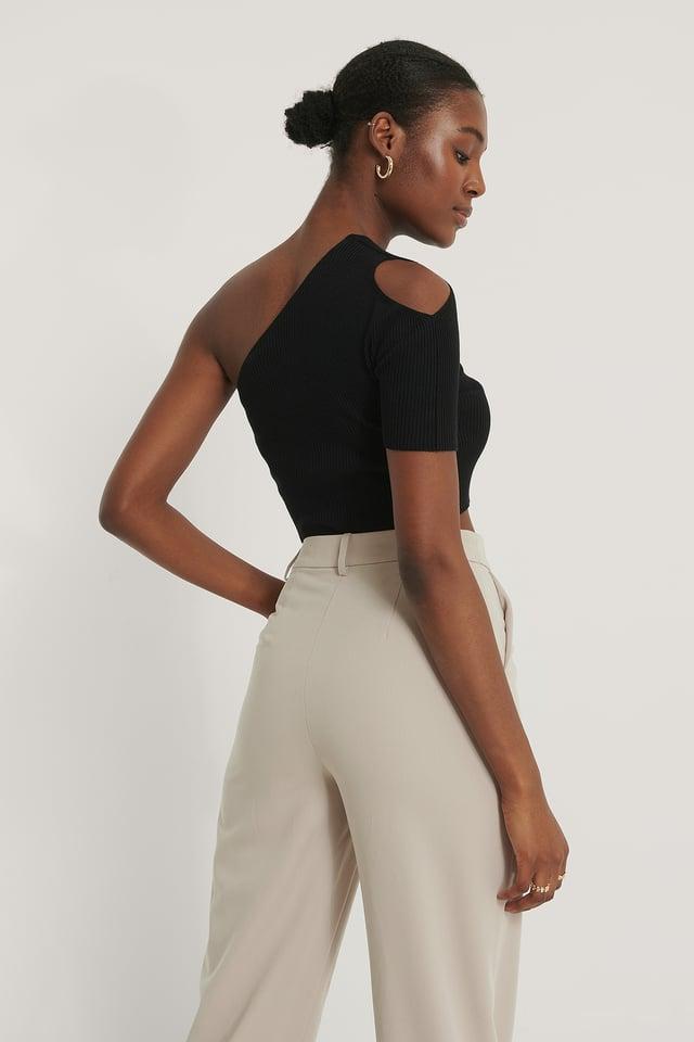 One Shoulder Knitted Short Sleeve Top Black