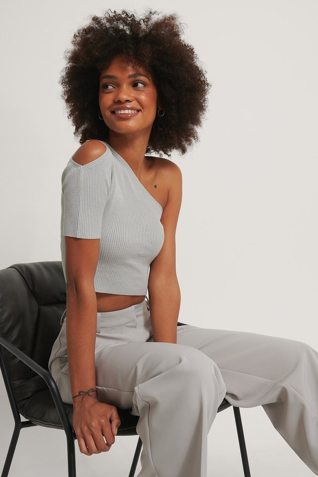 One Shoulder Knitted Short Sleeve Top Feather grey