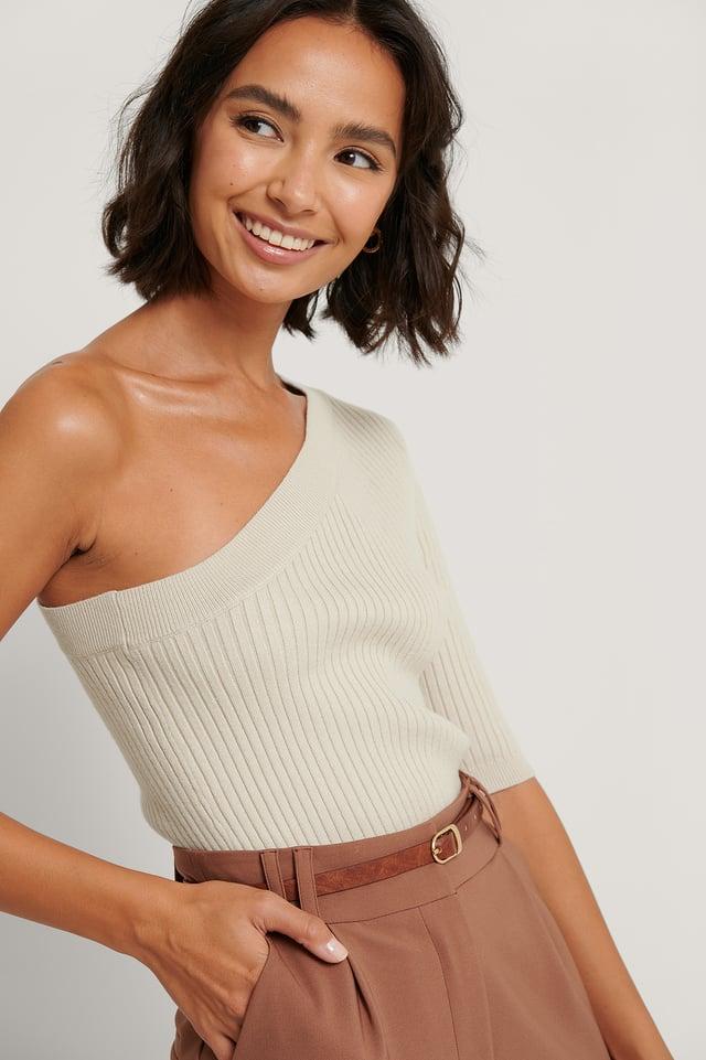 One Shoulder Knitted Top Beige