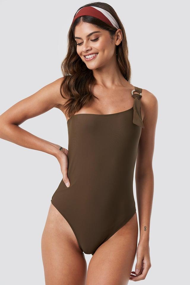One Shoulder Metal Ring Swimsuit Dark Brown