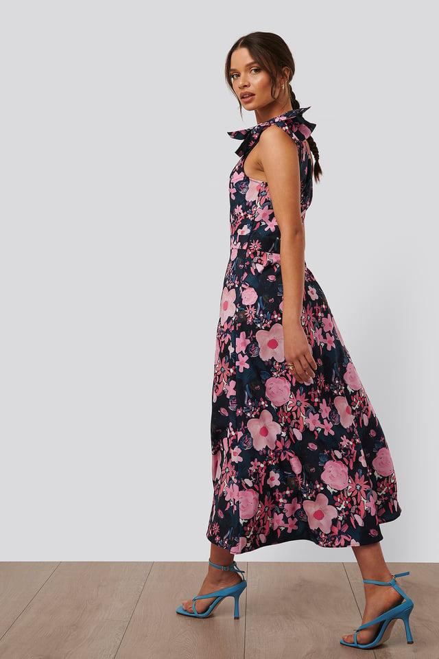 One Shoulder Midi Dress Dark Poppy Flower