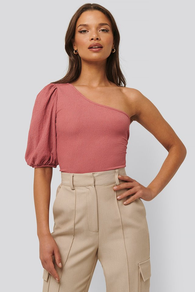 One Shoulder Puff Sleeve Top Pink