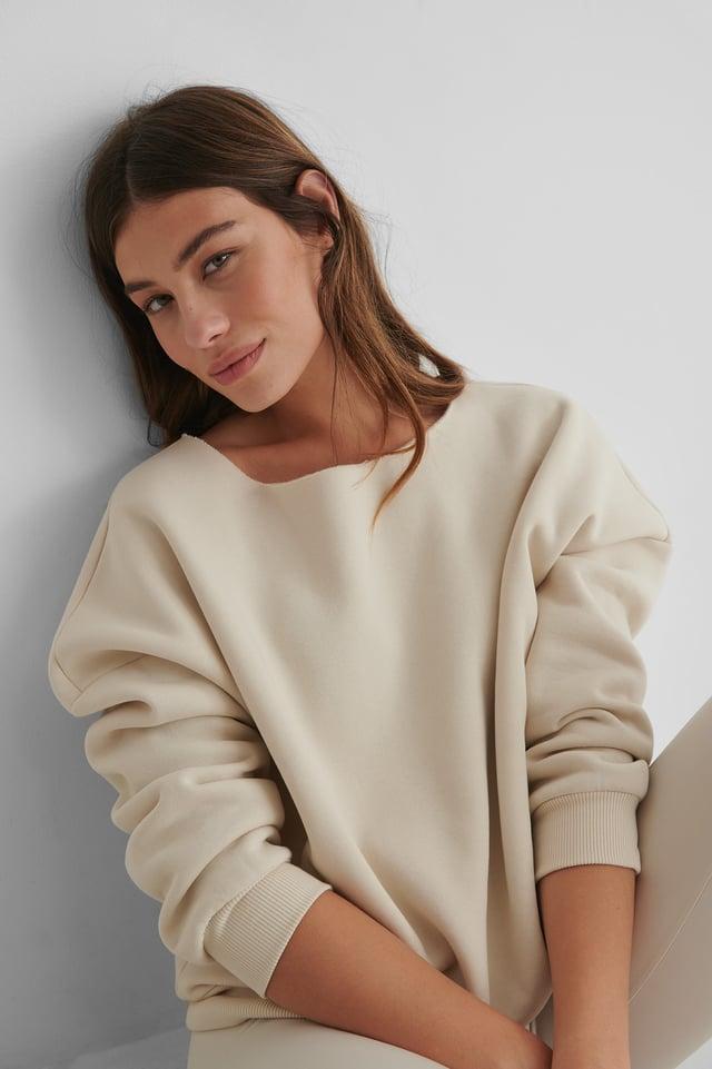One Shoulder Raw Edge Neck Sweater Dusty Light Beige