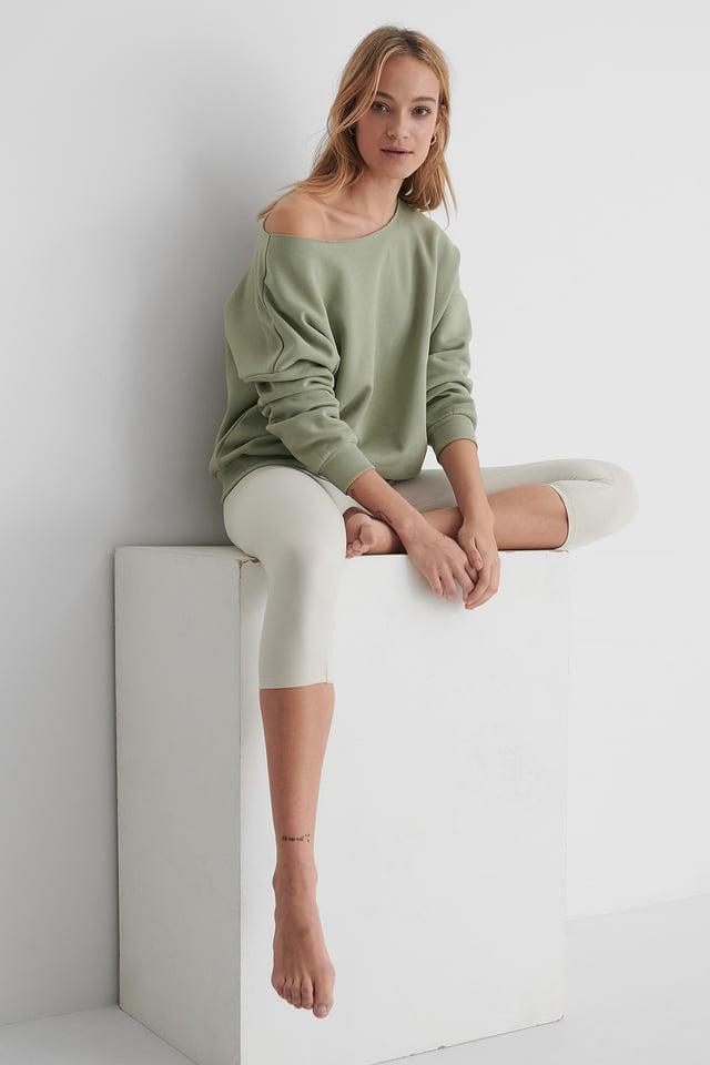 One Shoulder Raw Edge Neck Sweater Light Khaki