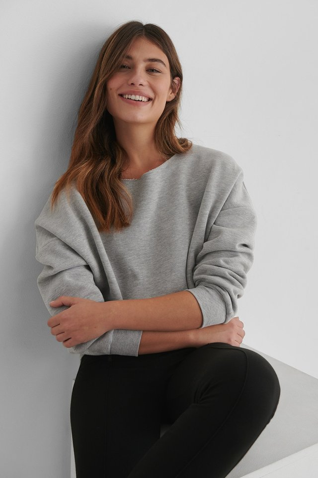 One Shoulder Raw Edge Neck Sweater Grey Melange