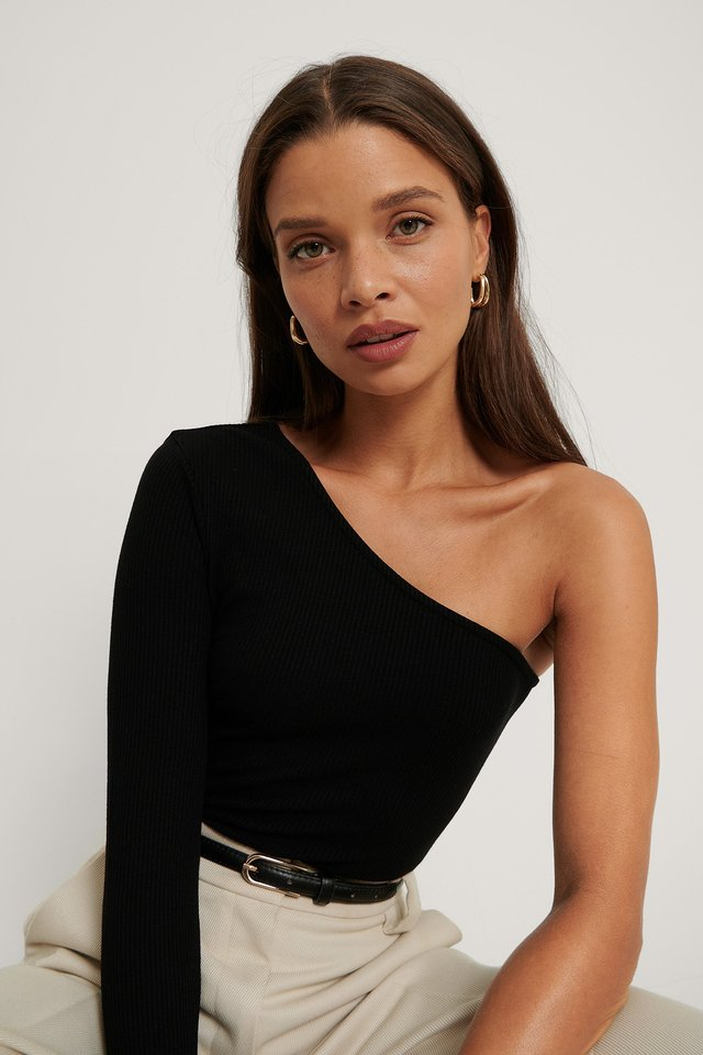 Black One Shoulder Rib Top