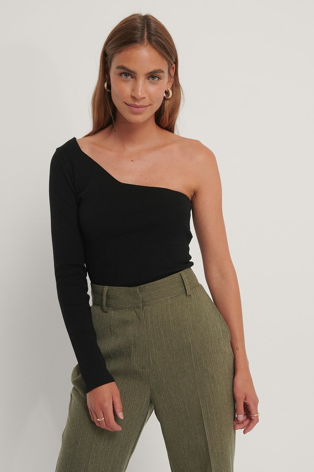 One Shoulder Ribbed Knitted Top Black