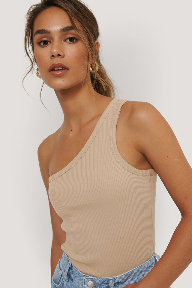 One Shoulder Ribbed Top Beige