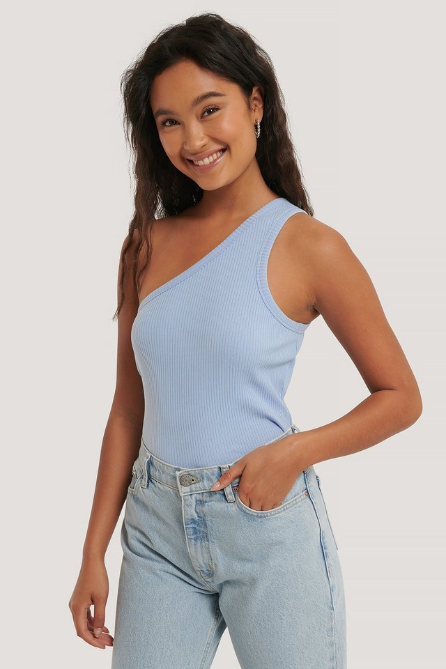 One Shoulder Ribbed Top Dusty Blue