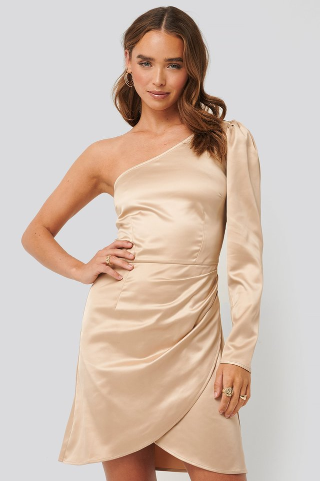 One Shoulder Satin Dress Champagne