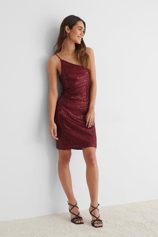 Burgundy One Shoulder Sequin Dress
