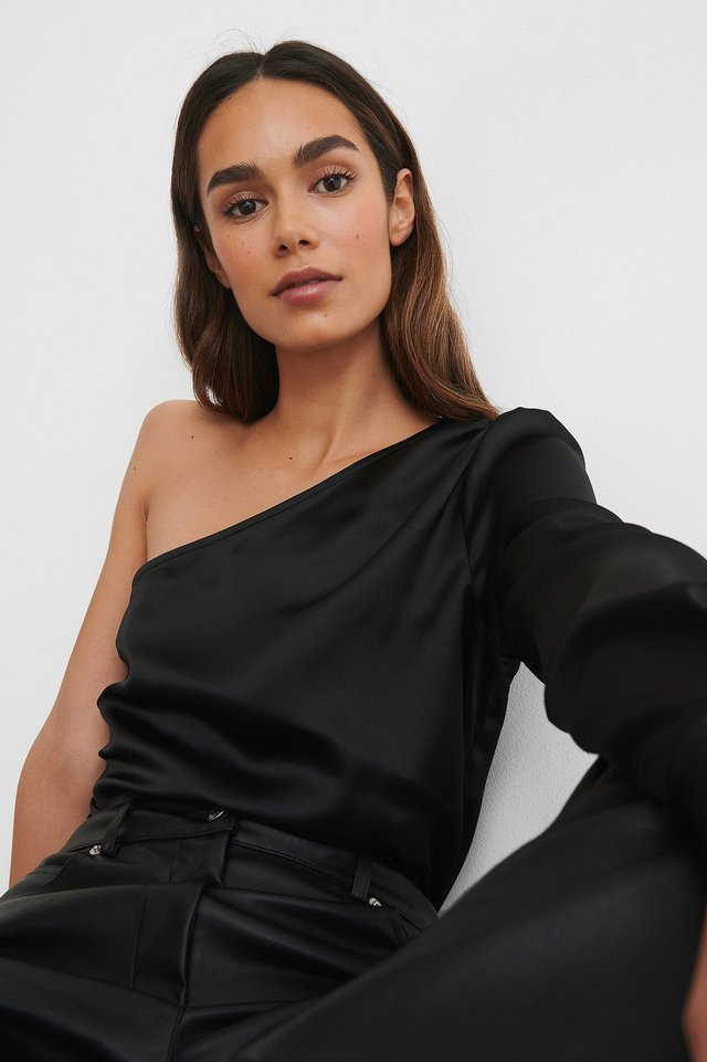 One Shoulder Shirred Satin Top Black