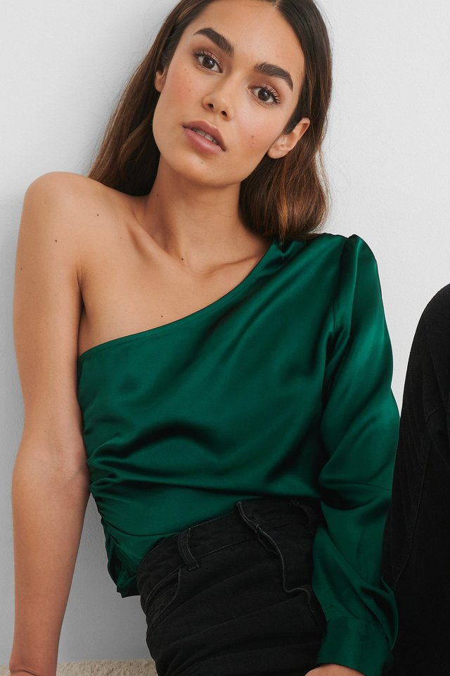 Emerald One Shoulder Shirred Satin Top
