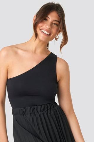 Black One Shoulder Singlet Body