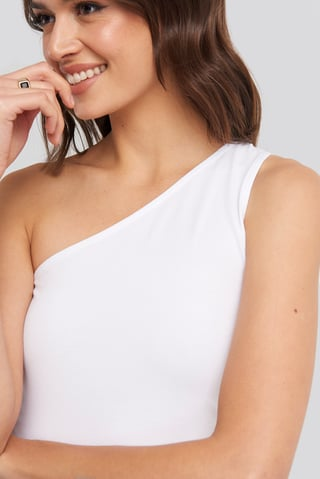 White One Shoulder Singlet Top