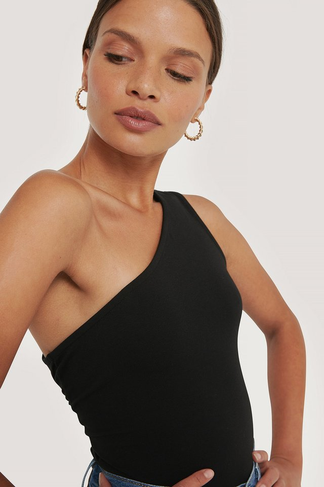One Shoulder Singlet Top Black