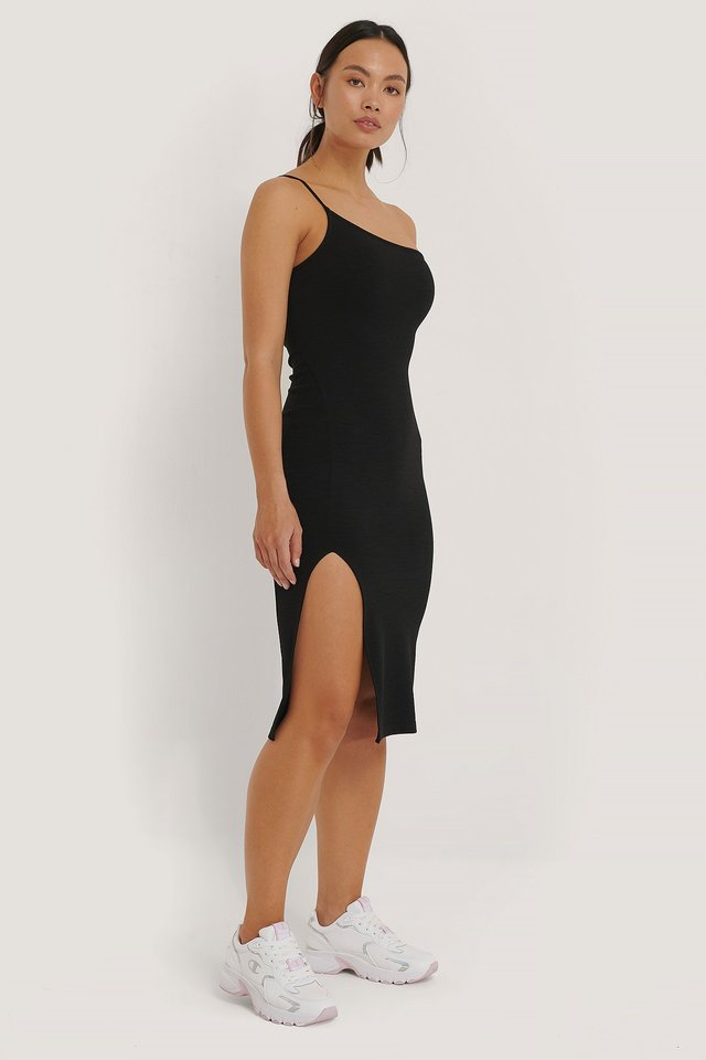 One Shoulder Slit Dress Black