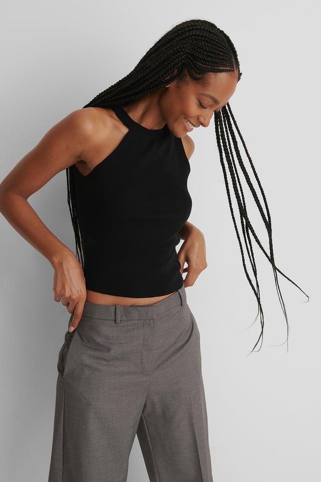 One Shoulder Solid Knitted Singlet Black