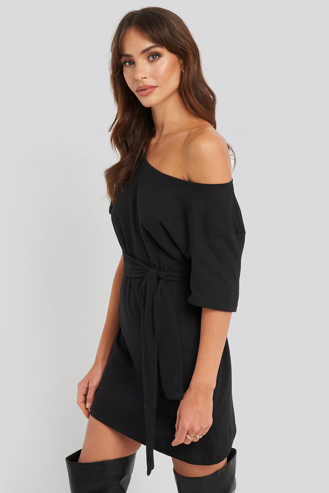 One Shoulder T-shirt Belted Dress Black
