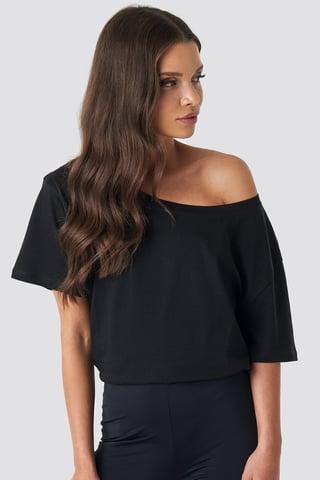 Black One Shoulder T-shirt