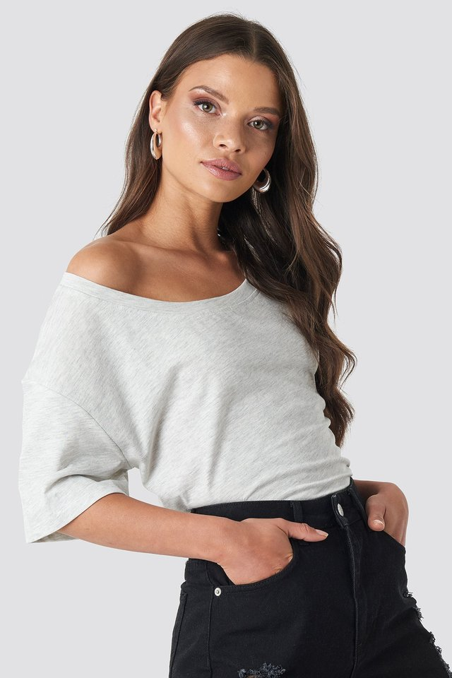 One Shoulder T-shirt Light Grey Melange