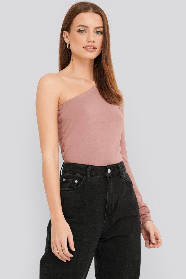 One Shoulder Top Dusty Pink