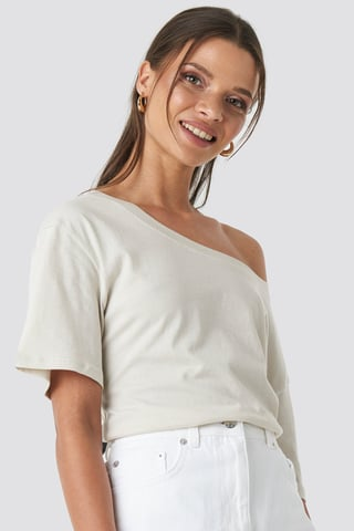 Dusty Light Beige One Shoulder T-shirt