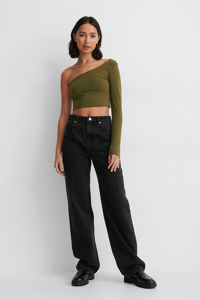 Khaki One Sleeve Crop Top
