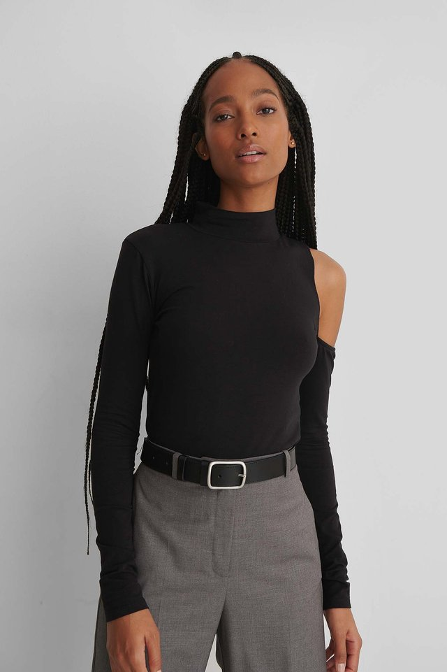 One Sleeve Cut Out Shoulder Top Black