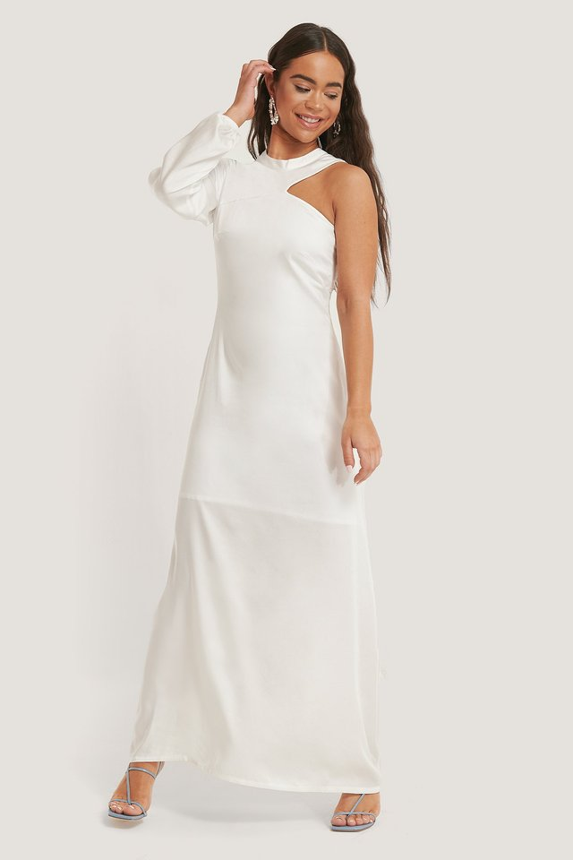 Offwhite One Sleeve Maxi Dress
