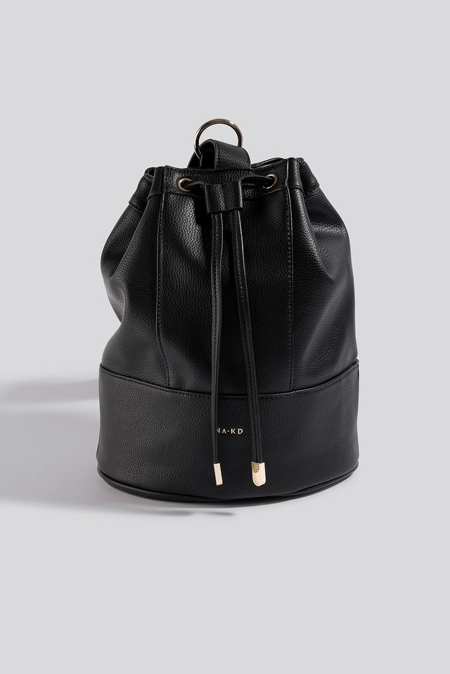 Black One Strap Bucket Bag