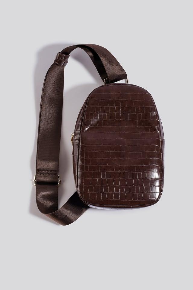 One Strap Sling Bag Brown Croco